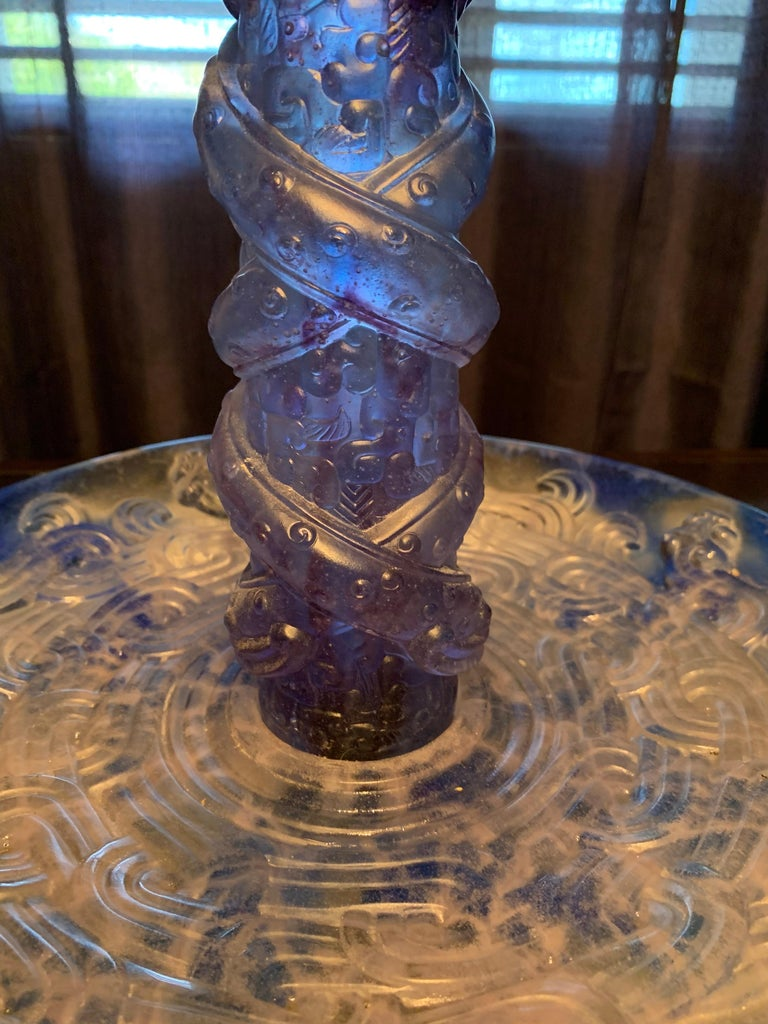 """Liuli Fine Art Chinese Glass Sculpture """"Holding Up Heaven"""" Blue and Purple For Sale 5"""