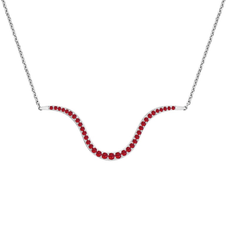 Liv Luttrell Contour Ruby and Gold Pendant Necklace