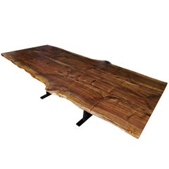 Live Edge, American Black Walnut Slab, Extending Dining Table with Steel Base