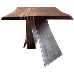 Black Walnut Dining Table live edge with Aluminium Inserts
