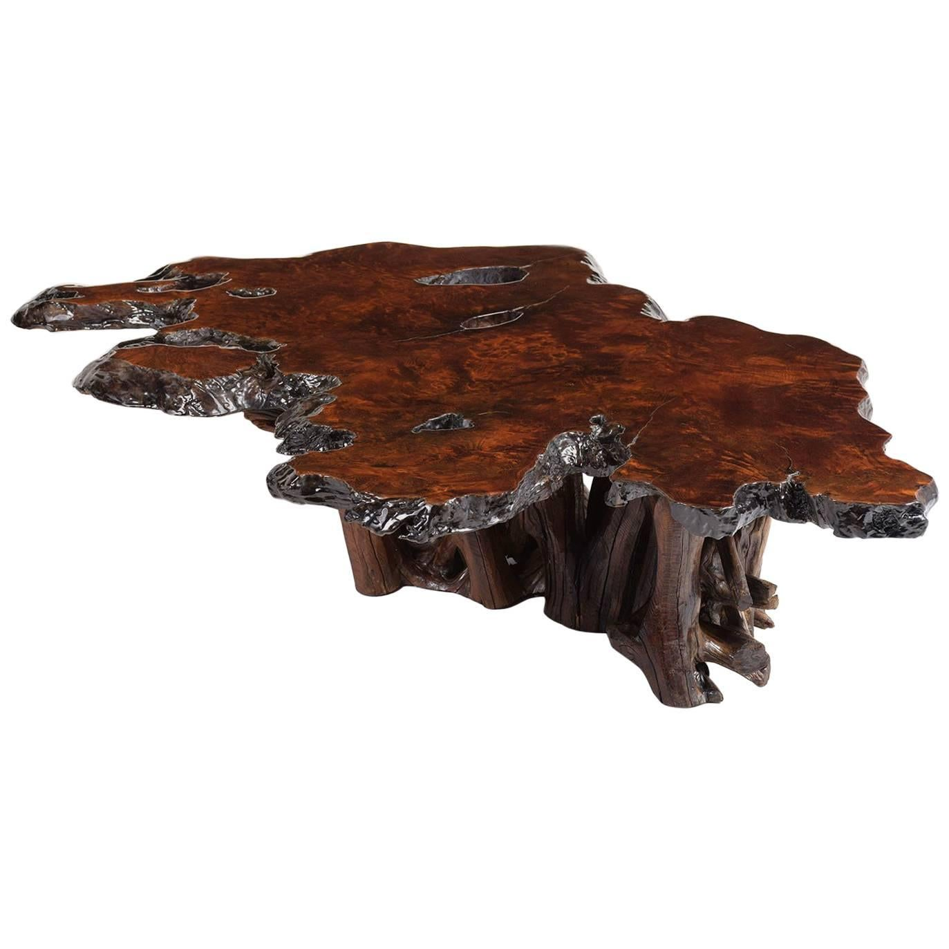 live edge burl wood coffee table for sale at 1stdibs rh 1stdibs com burl wood coffee table for sale burl wood coffee table glass top