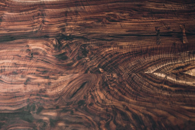 American Live Edge Claro Walnut Slab Dining Table with Blackened Cast Iron Base  For Sale