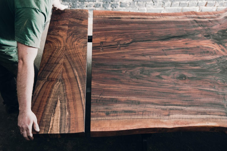 Live Edge Claro Walnut Slab Dining Table with Blackened Cast Iron Base  In New Condition For Sale In Three Rivers, MA
