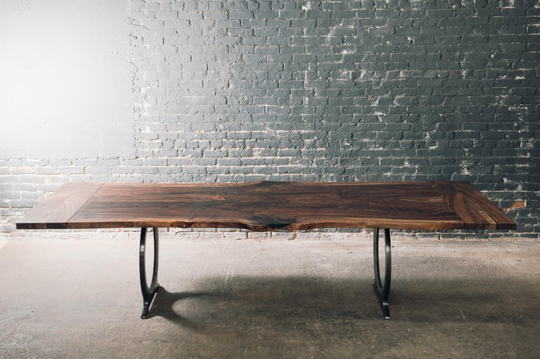 Live Edge Claro Walnut Slab Dining Table with Blackened Cast Iron Base  For Sale 2