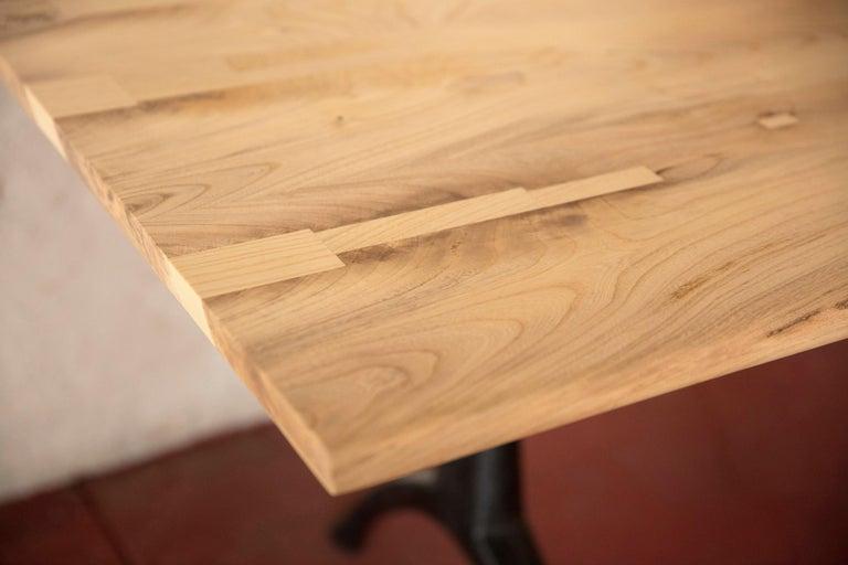 Steel Live Edge Dining Table Light Color Wood on Black Patina Cast Wishbone Base For Sale