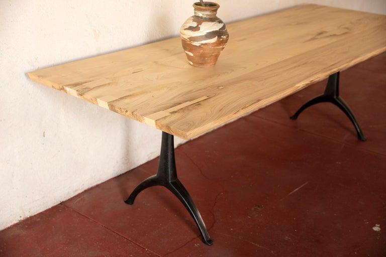 Live Edge Dining Table Light Color Wood on Black Patina Cast Wishbone Base For Sale 1