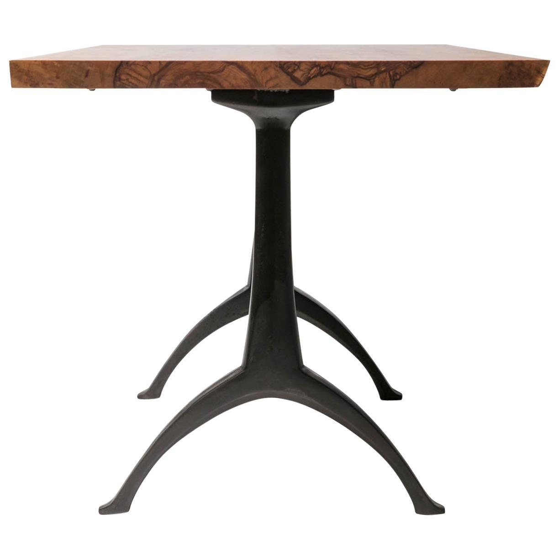 Live Edge Dining Table Light Color Wood on Black Patina Cast Wishbone Base