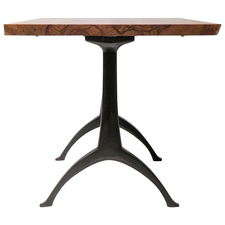 Live Edge Dining Table Light Color Wood on Black Patina Cast Wishbone Base For Sale