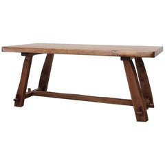 Live Edge Elm Trestle Olavi Hanninen Dining Table