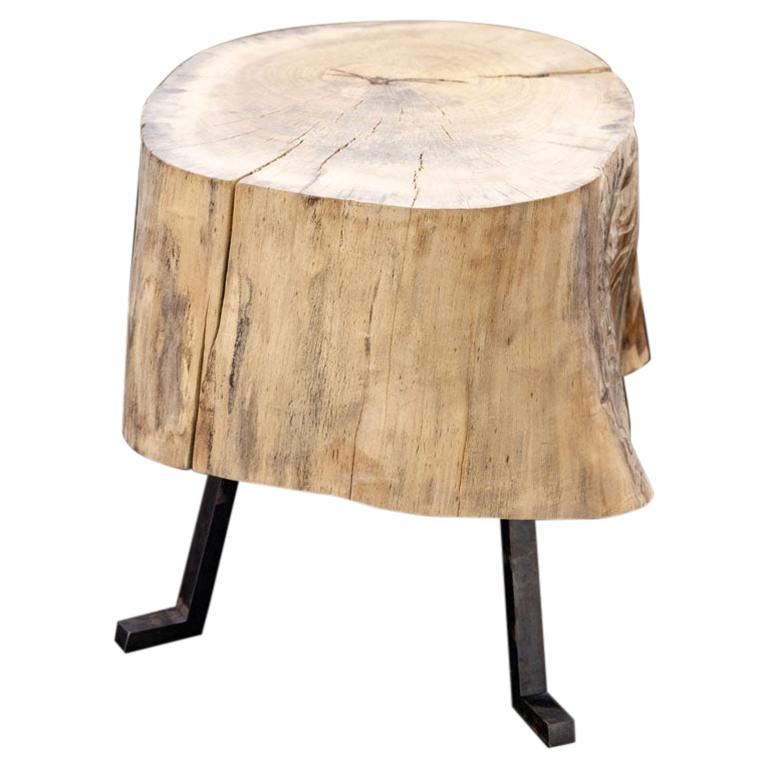 Live Edge End Grain Round Side Table Light Wood with Black Patina Steel Legs #4
