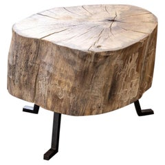 Live Edge End Grain Round Side Table Light Wood with Black Patina Steel Legs