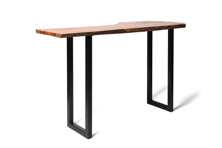Live Edge Bar Height Table in Pecan Wood and Blackened Steel by Alabama Sawyer For Sale 6