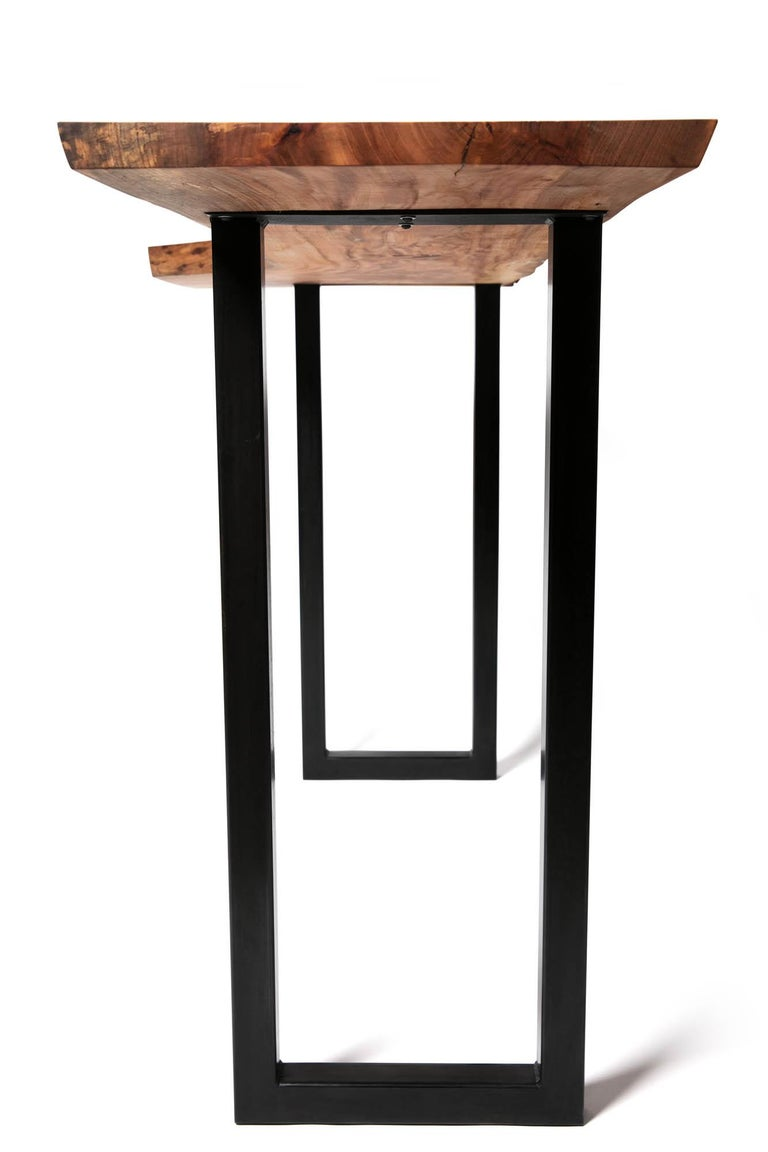 Live Edge Bar Height Table in Pecan Wood and Blackened Steel by Alabama Sawyer For Sale 7