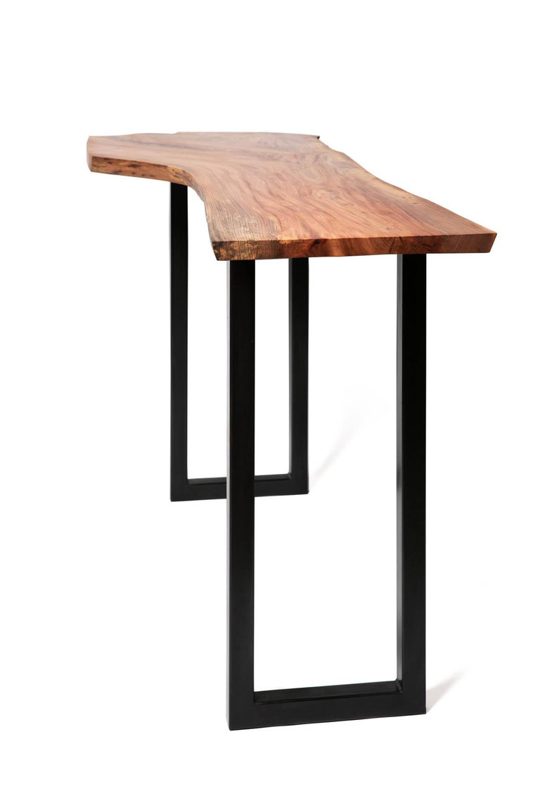 Live Edge Bar Height Table in Pecan Wood and Blackened Steel by Alabama Sawyer For Sale 11