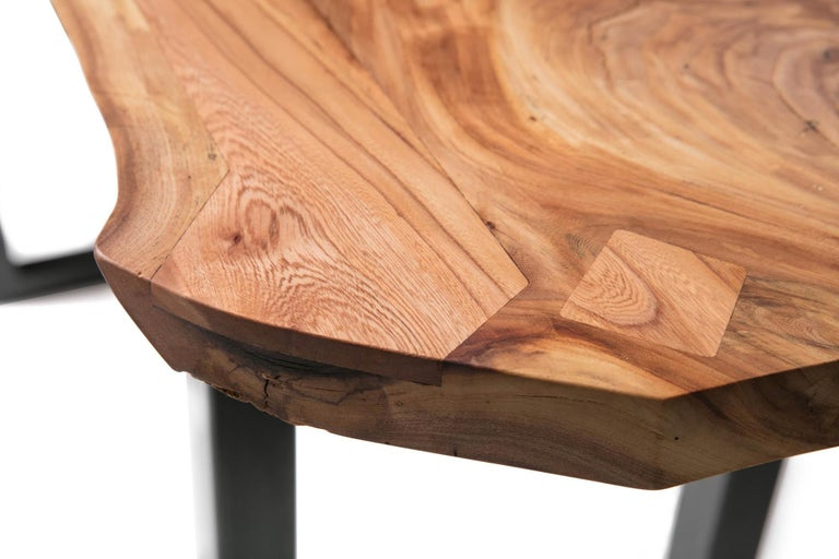 American Live Edge Bar Height Table in Pecan Wood and Blackened Steel by Alabama Sawyer For Sale