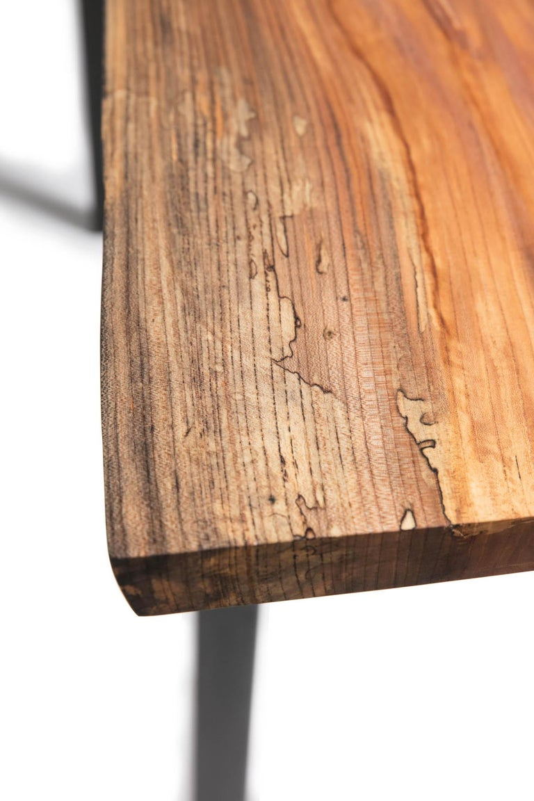 Contemporary Live Edge Bar Height Table in Pecan Wood and Blackened Steel by Alabama Sawyer For Sale
