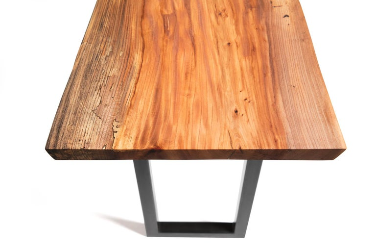 Live Edge Bar Height Table in Pecan Wood and Blackened Steel by Alabama Sawyer For Sale 1