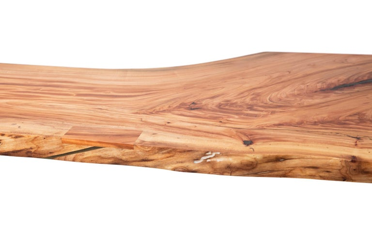 Live Edge Bar Height Table in Pecan Wood and Blackened Steel by Alabama Sawyer For Sale 2