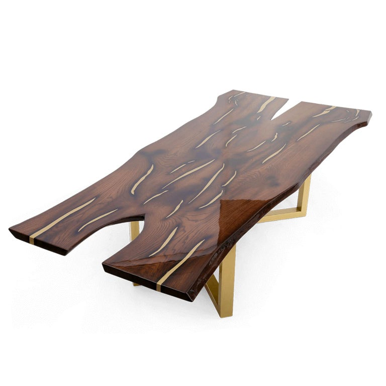 Modern Live Edge Large Dining Table with Inlays Handmade of Solid Wood and Brass Legs For Sale