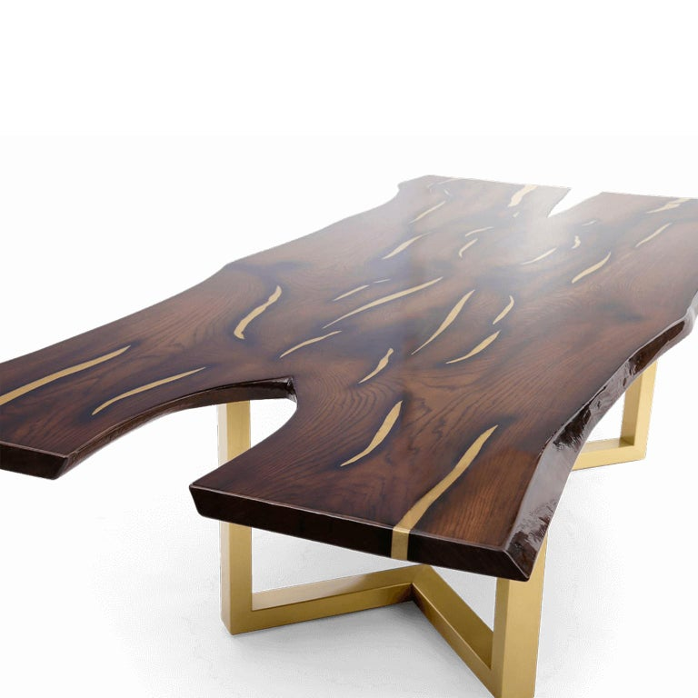 Latvian Live Edge Large Dining Table with Inlays Handmade of Solid Wood and Brass Legs For Sale