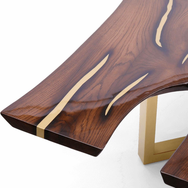 Live Edge Large Dining Table with Inlays Handmade of Solid Wood and Brass Legs In New Condition For Sale In Riga, LV
