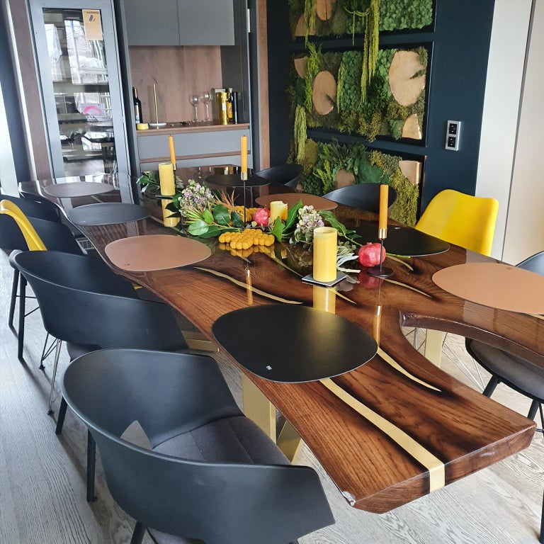 Contemporary Live Edge Large Dining Table with Inlays Handmade of Solid Wood and Brass Legs For Sale