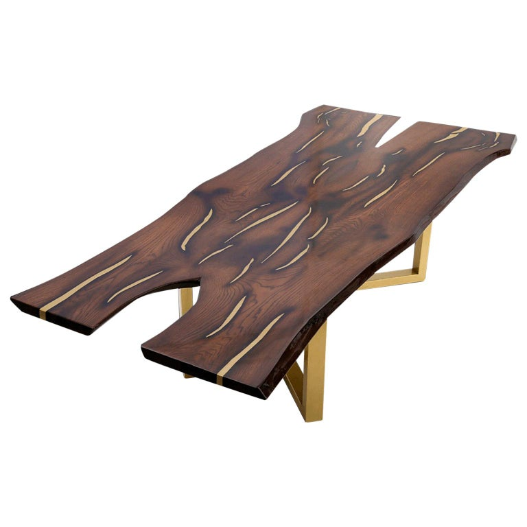 Live Edge Large Dining Table with Inlays Handmade of Solid Wood and Brass Legs For Sale
