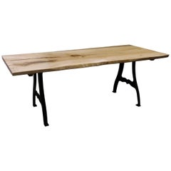 Live Edge Maple Table with New York, NY Cast Iron Industrial Legs