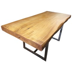 Live Edge Monkey Pod 3.5 Solid Slab Desk with Chrome Base