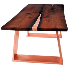Live Edge Oak Dining Table with Inlays and Copper Legs in High Gloss Finish