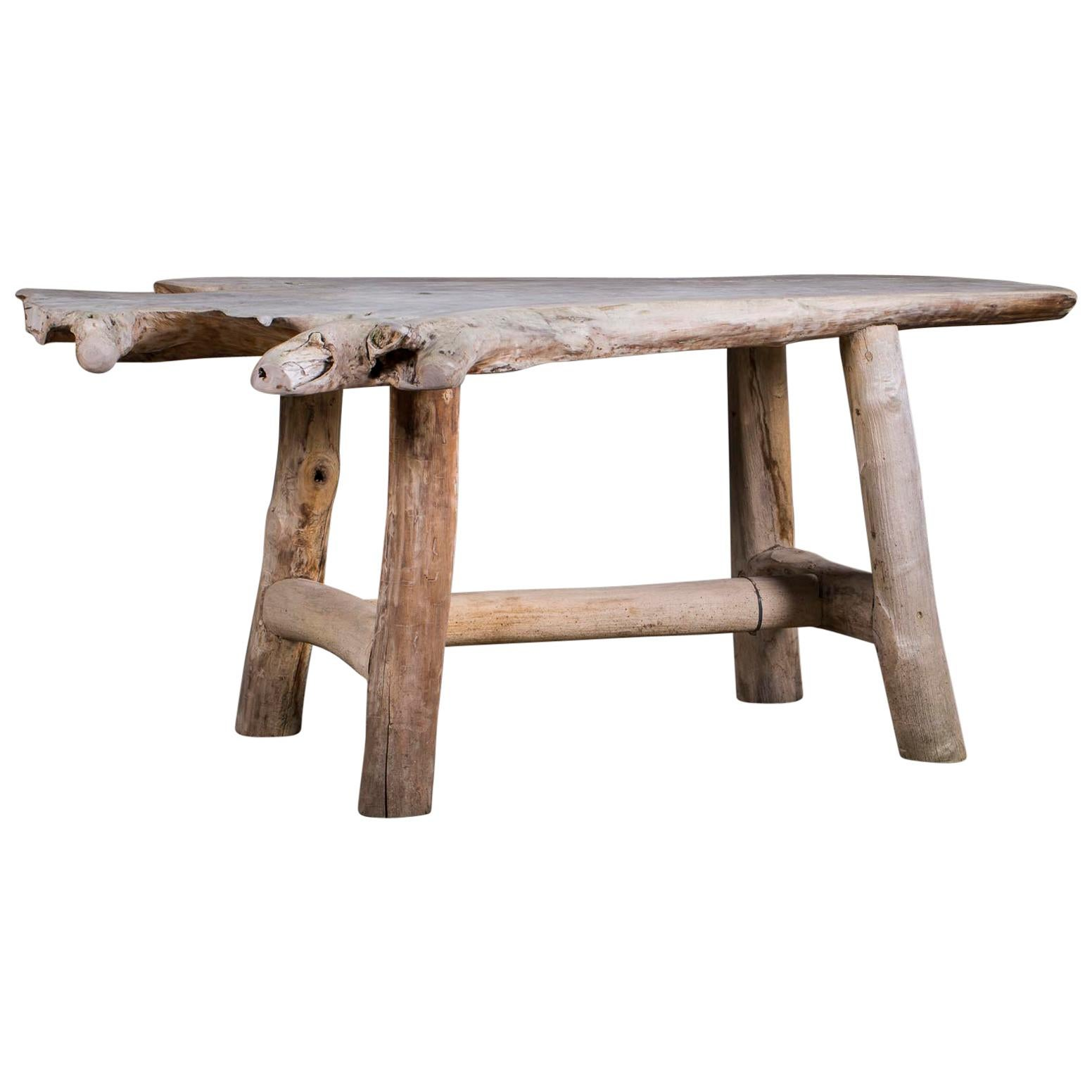 Live Edge Organic Modern Teak Table From Indonesia For Sale