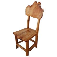 Live Edge, Organic, Redwood Freeform Wood Side Chair