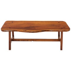 Live Edge Organic Shape Slab Top Coffee Table on Stretcher Base
