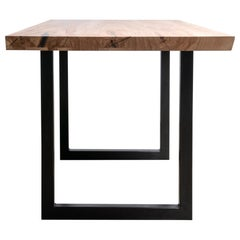 Live Edge Pecan Table Clear Finish on Modern Black Steel Square Base