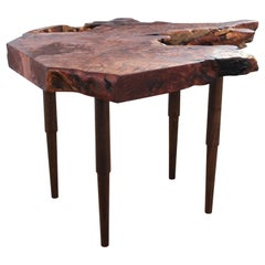Live Edge Redwood Root Side Table with Turned, Stepped & Tapered Walnut Legs
