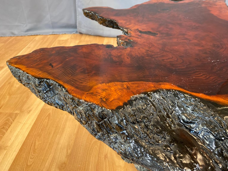 Live Edge Redwood Slab Coffee Table, 1970s For Sale 4