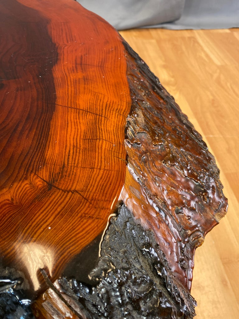 Live Edge Redwood Slab Coffee Table, 1970s For Sale 5
