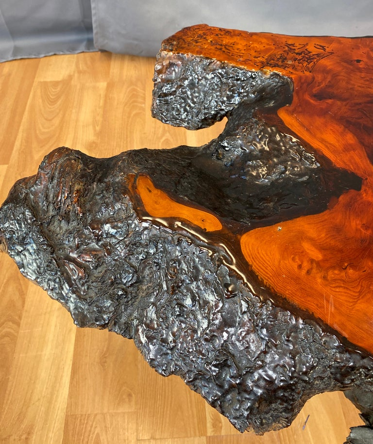 Live Edge Redwood Slab Coffee Table, 1970s For Sale 6