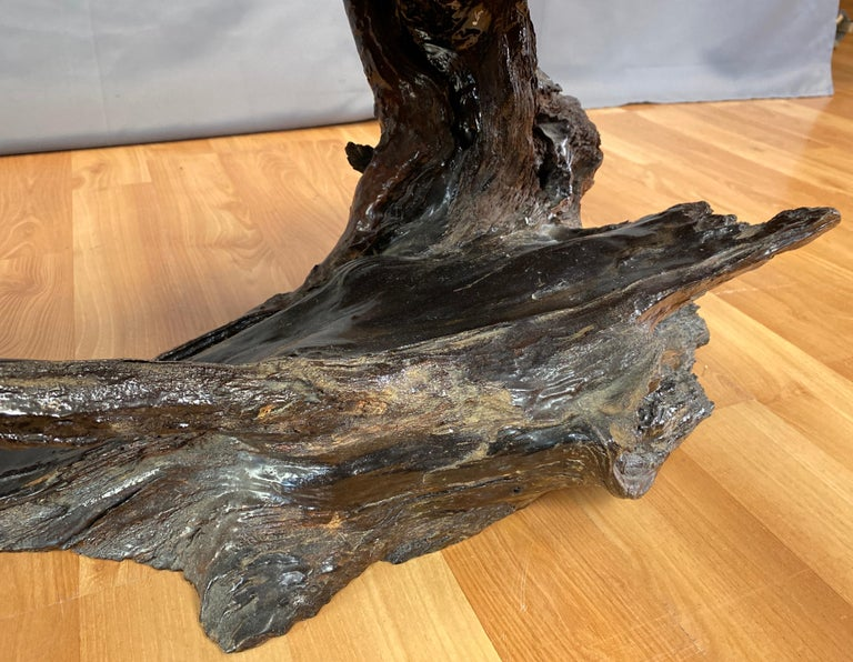 Live Edge Redwood Slab Coffee Table, 1970s For Sale 8