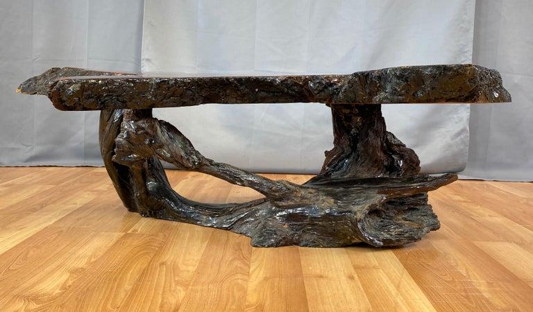 Wood Live Edge Redwood Slab Coffee Table, 1970s For Sale