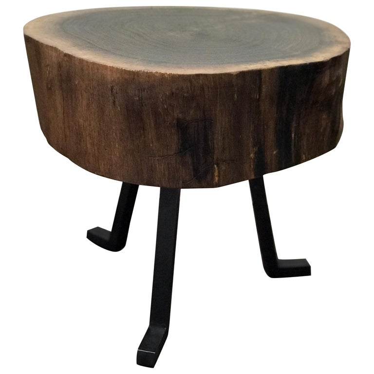 Live Edge Round Side Table Solid Walnut with Black Patina Steel Legs For Sale