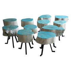 Live Edge Round Side Table, Modern Organic Blue Sputnik Table