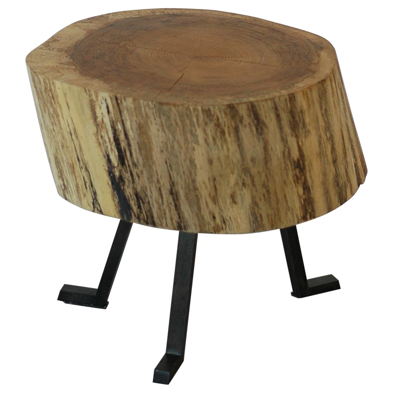 Live Edge Round Side Table Solid Oak with Black Patina Steel Legs