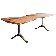 Live Edge Slab Desk with Bronze-Plated Cast Iron Legs by Hopes Woodshop