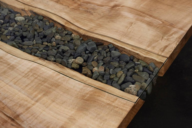 Live Edge Slab Dining Table With River Rocks And Glass For