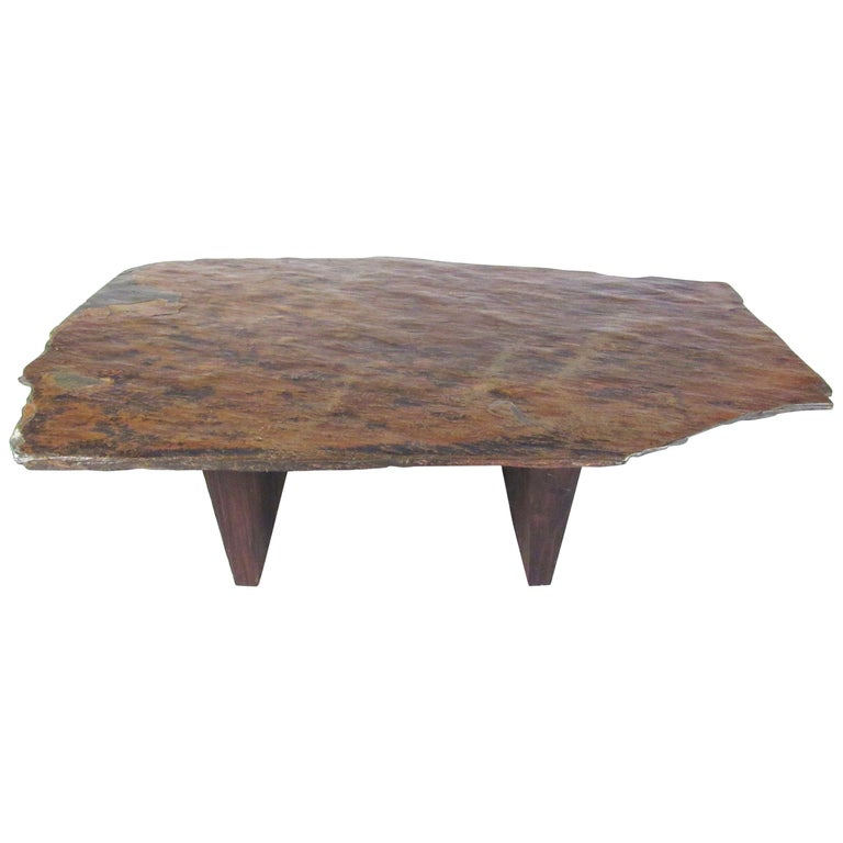 Slate And Glass Coffee Table For Sale: Live Edge Slate Top Coffee Table For Sale At 1stdibs