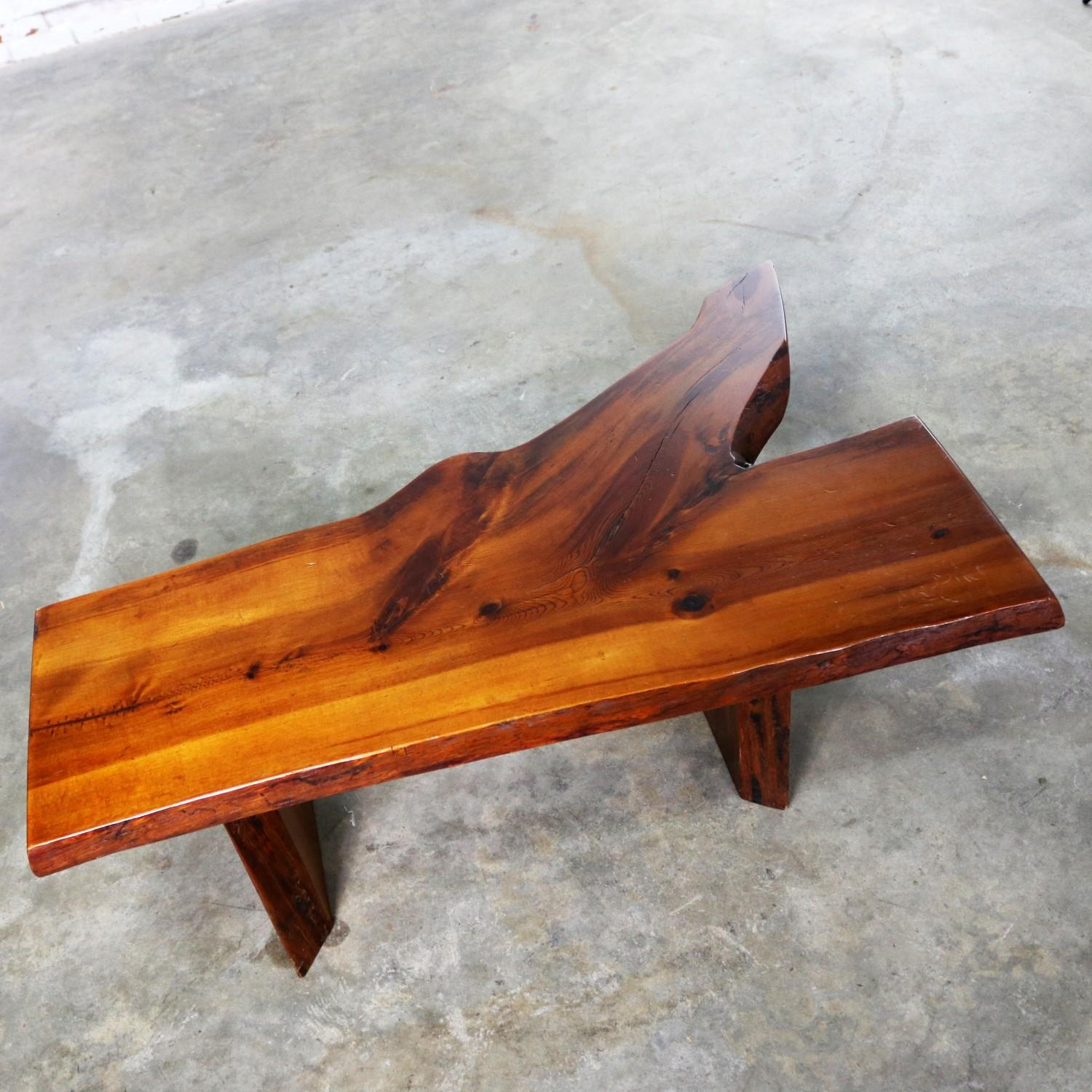 Magnificent Live Edge Solid Slab Coffee Table Or Bench In The Style Of George Nakashima Evergreenethics Interior Chair Design Evergreenethicsorg