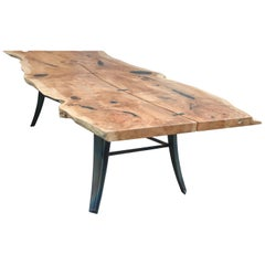 Live Edge Table Made of Maple with Blued Steel Base and Ebony Butterfly Joints