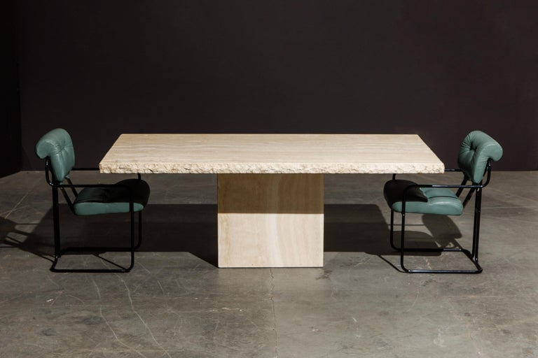 Live Edge Travertine Dining Table by Stone International, Italy, 1980s, Signed For Sale 4
