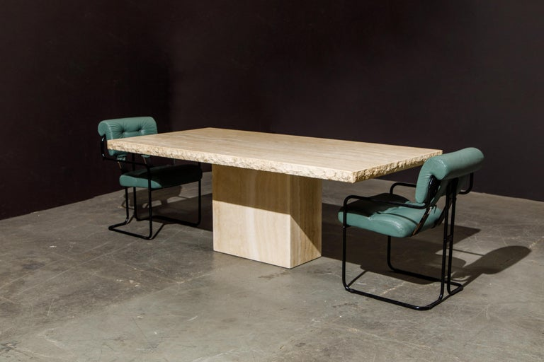 Live Edge Travertine Dining Table by Stone International, Italy, 1980s, Signed For Sale 5